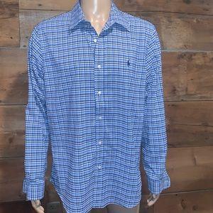 Ralph Lauren Mens Blue Button Down Shirt SZ.XL
